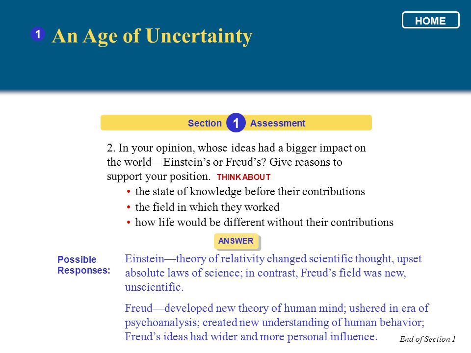 HOME 1. An Age of Uncertainty. Section. 1. Assessment.