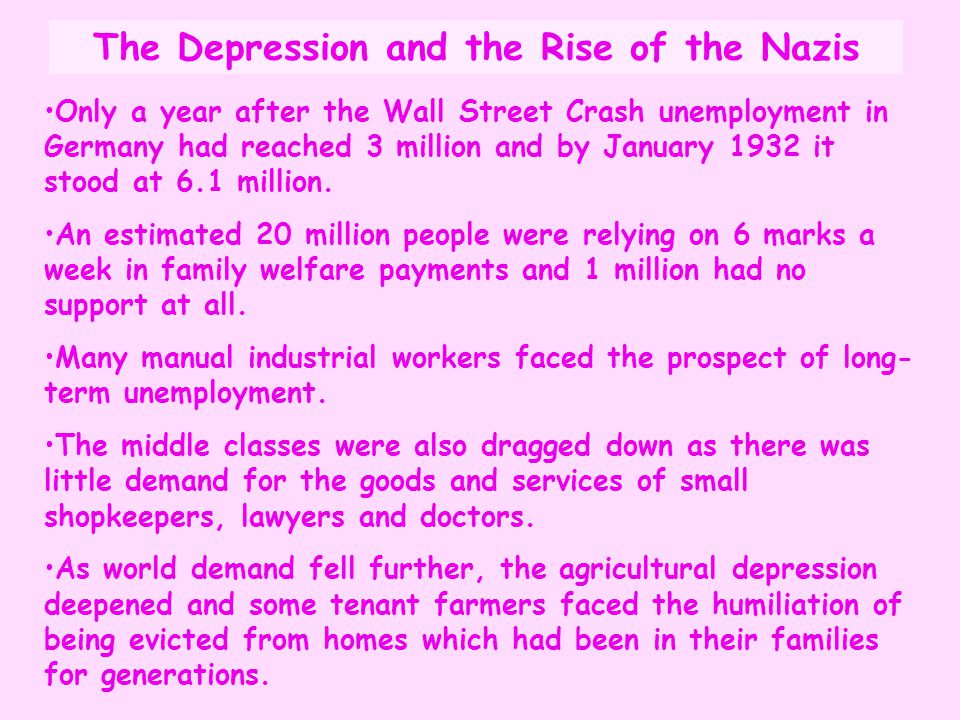 The Depression and the Rise of the Nazis