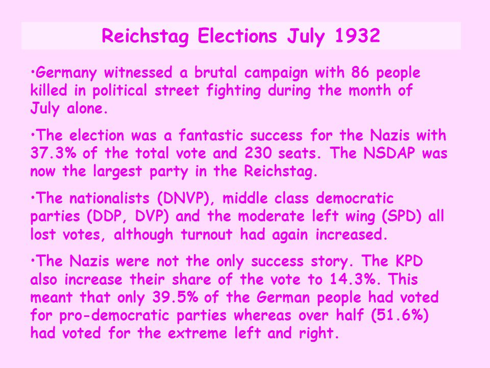 Reichstag Elections July 1932
