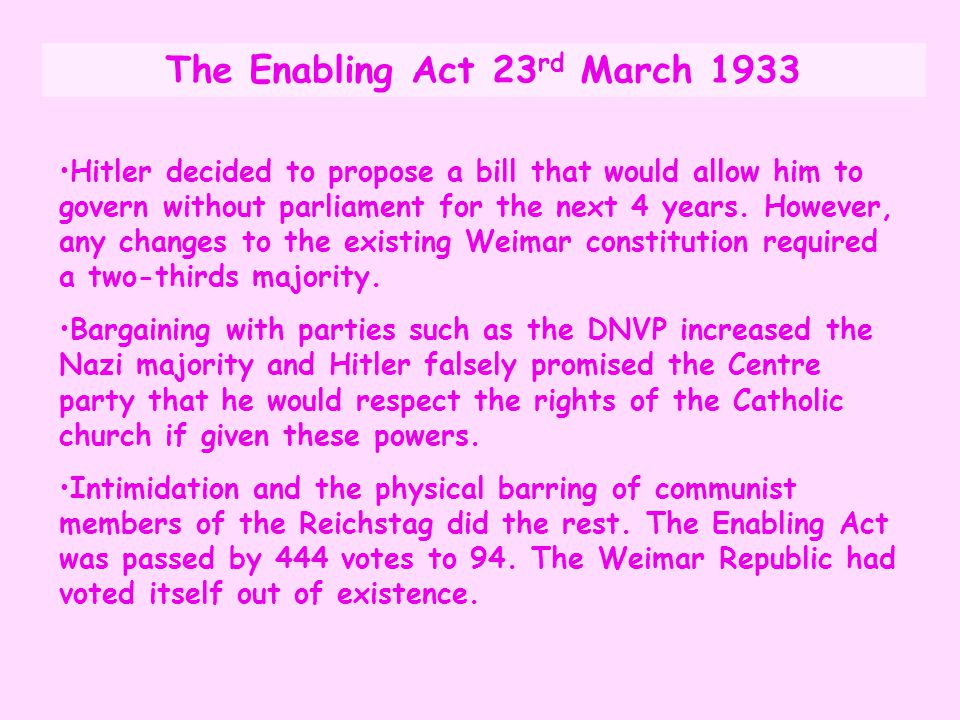 The Enabling Act 23rd March 1933