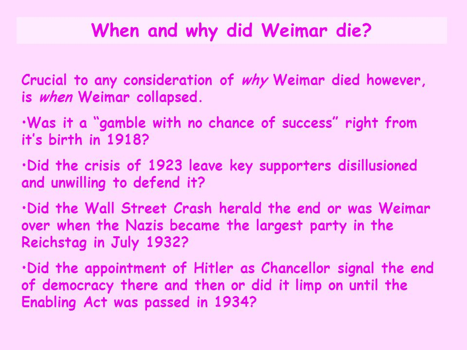 When and why did Weimar die