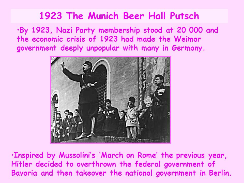 1923 The Munich Beer Hall Putsch