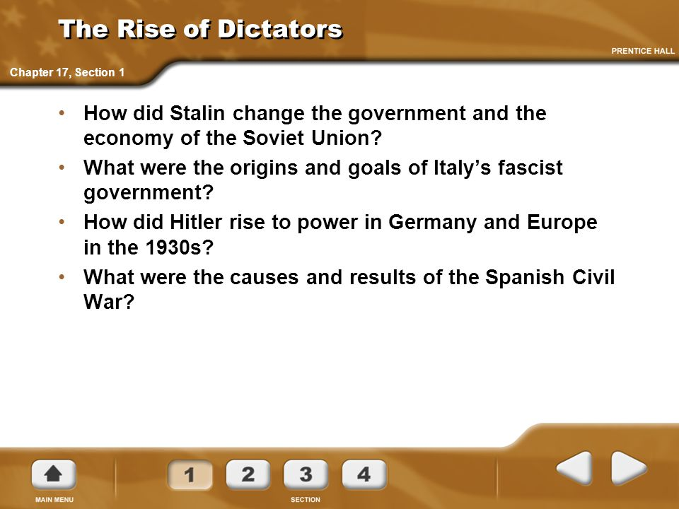 The Rise of Dictators Chapter 17, Section 1. How did Stalin change the government and the economy of the Soviet Union