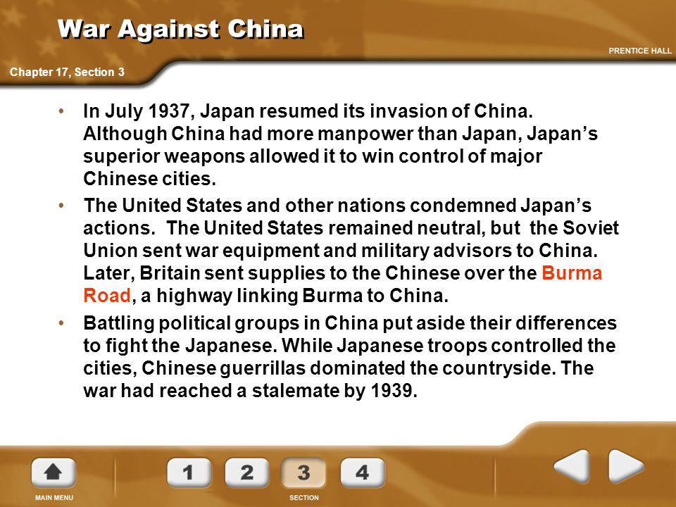 War Against China Chapter 17, Section 3.