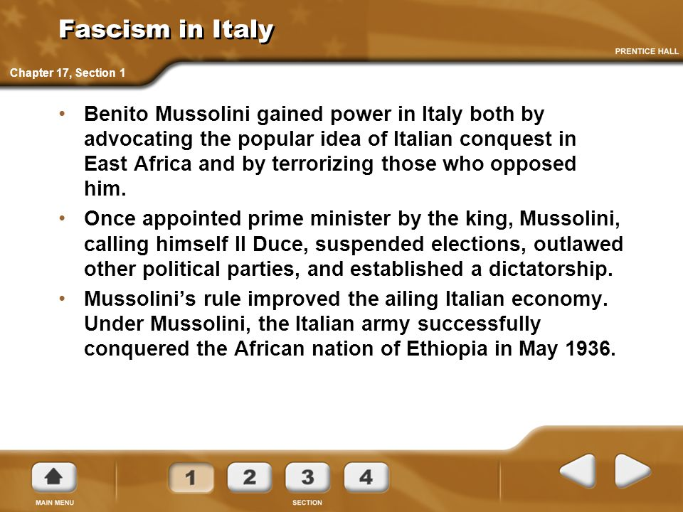 Fascism in Italy Chapter 17, Section 1.