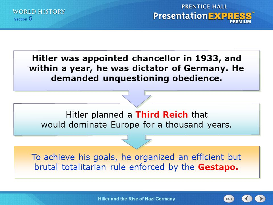 Hitler was appointed chancellor in 1933, and within a year, he was dictator of Germany. He demanded unquestioning obedience.