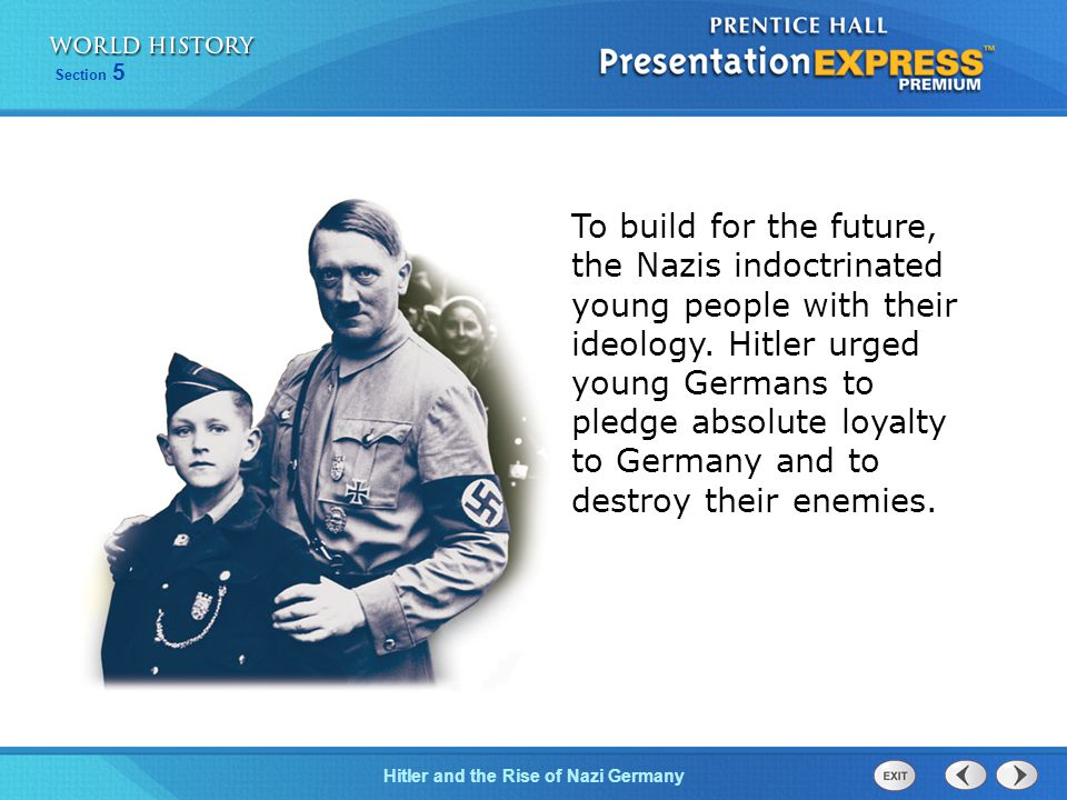 To build for the future, the Nazis indoctrinated young people with their ideology. Hitler urged young Germans to pledge absolute loyalty to Germany and to destroy their enemies.