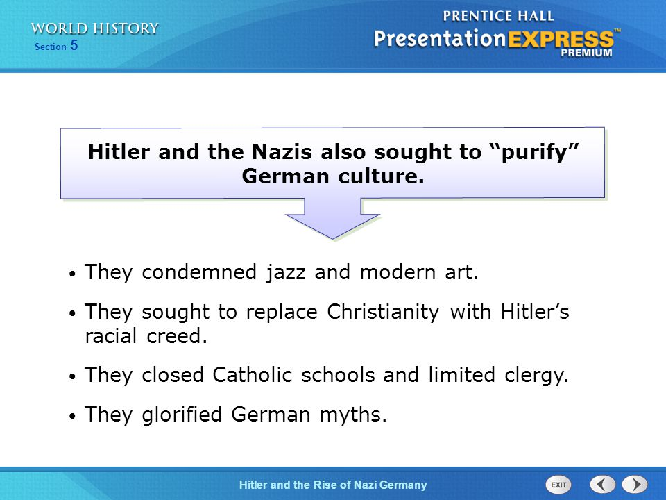 Hitler and the Nazis also sought to purify German culture.