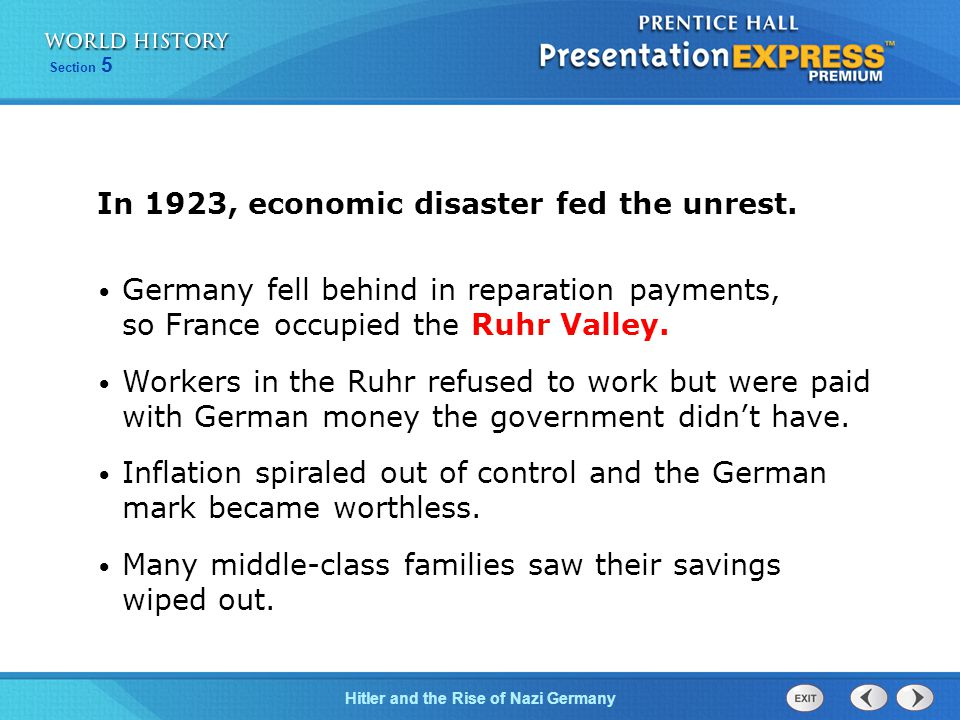 In 1923, economic disaster fed the unrest.