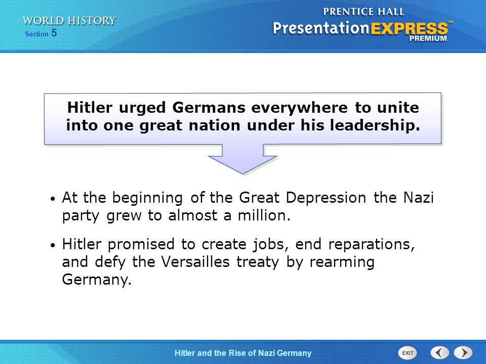 Hitler urged Germans everywhere to unite into one great nation under his leadership.