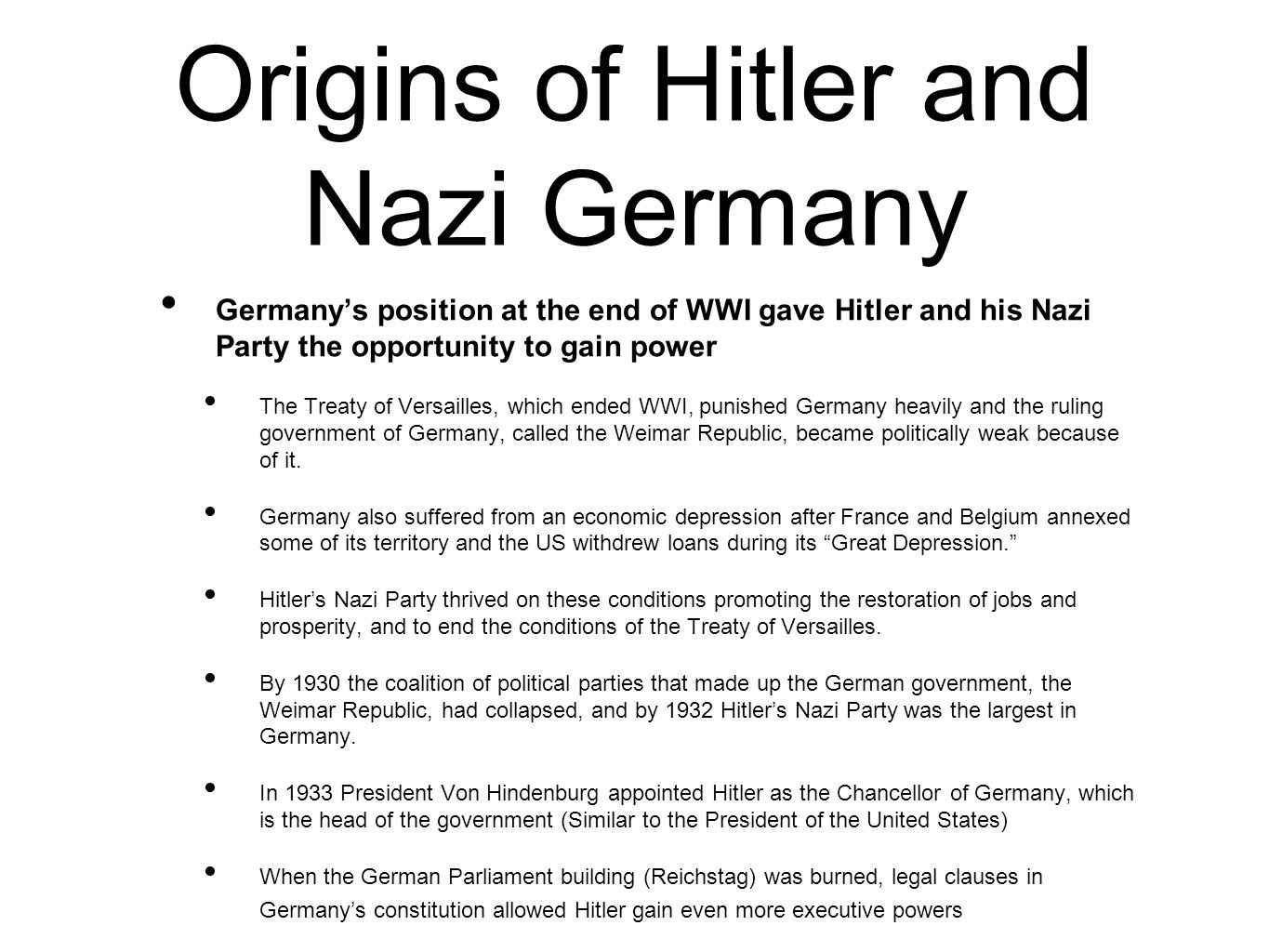 Origins of Hitler and Nazi Germany