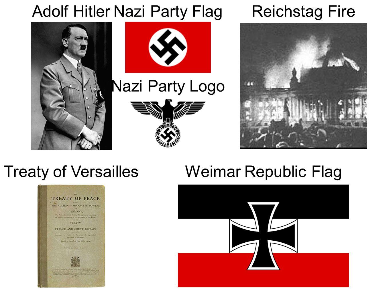 Adolf Hitler Nazi Party Flag. Reichstag Fire. Nazi Party Logo.