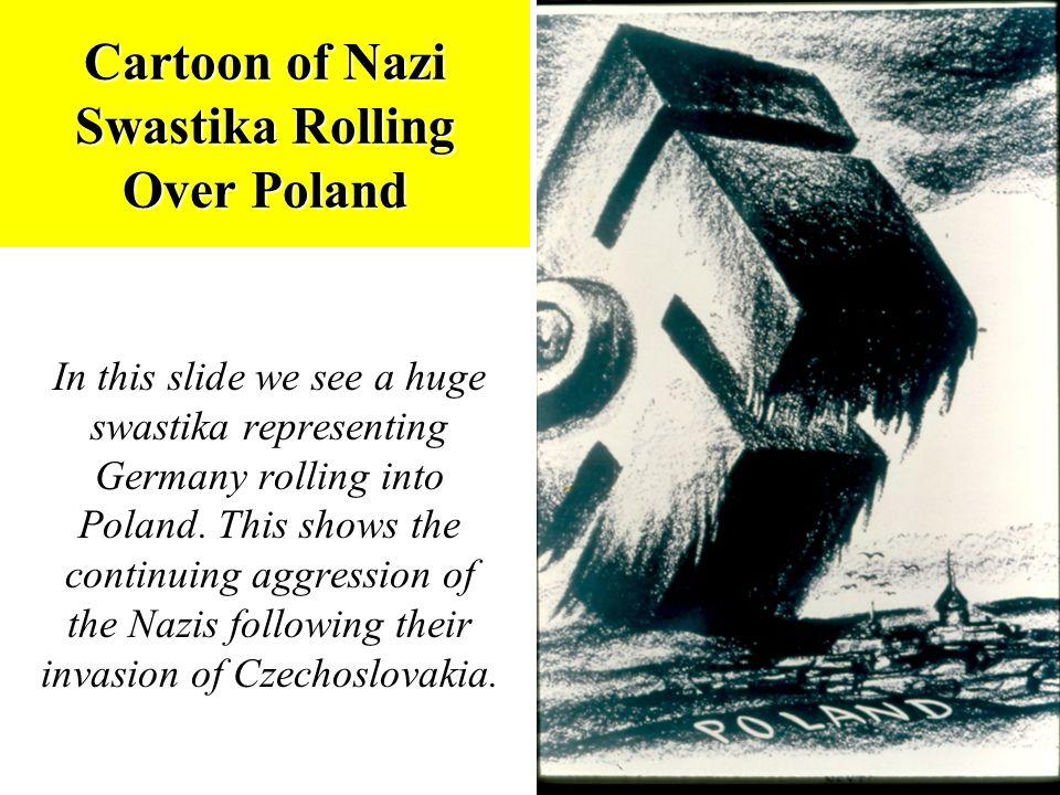 Cartoon of Nazi Swastika Rolling Over Poland