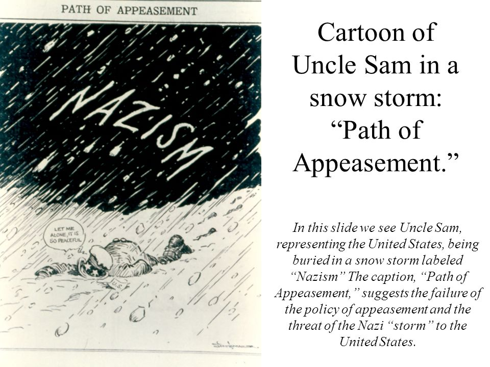 Cartoon of Uncle Sam in a snow storm: Path of Appeasement.