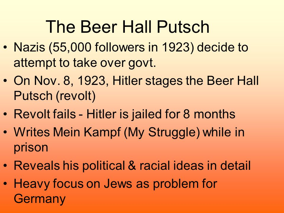 The Beer Hall Putsch Nazis (55,000 followers in 1923) decide to attempt to take over govt.