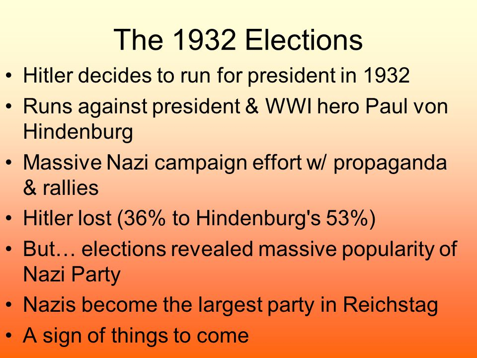 The 1932 Elections Hitler decides to run for president in 1932