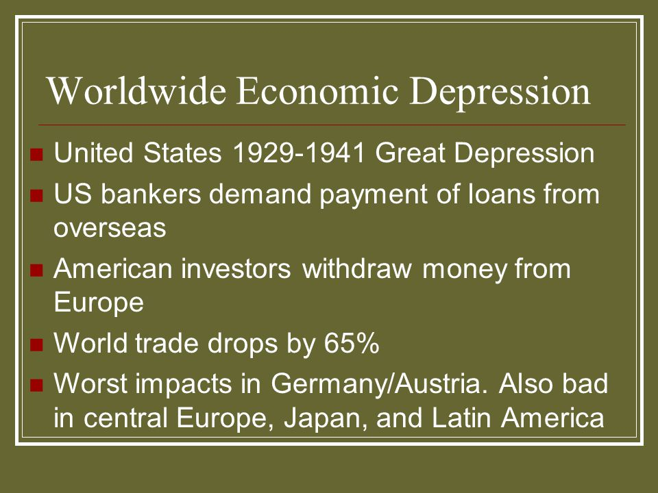 Worldwide Economic Depression