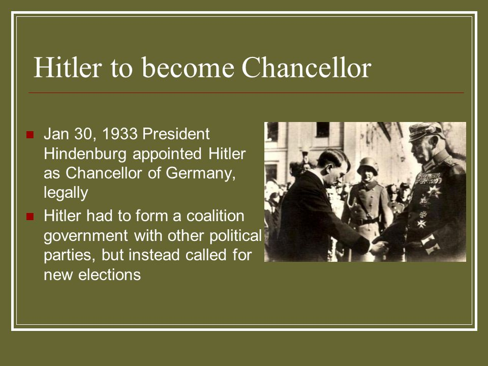 Hitler to become Chancellor