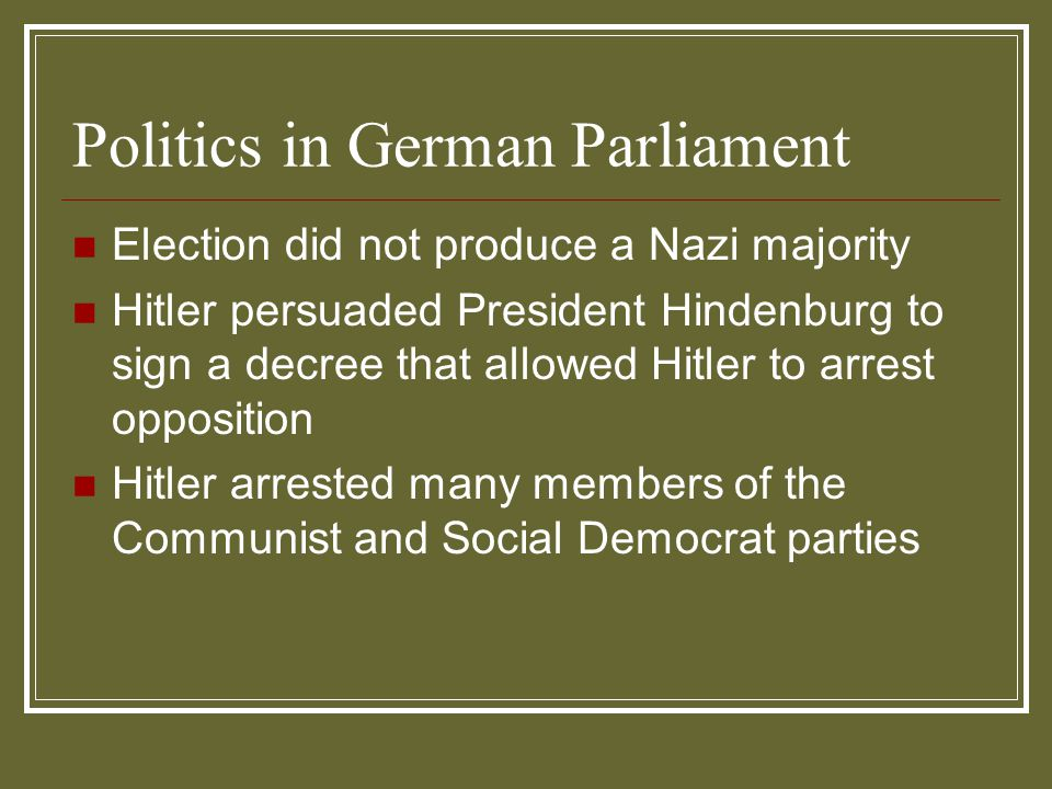 Politics in German Parliament