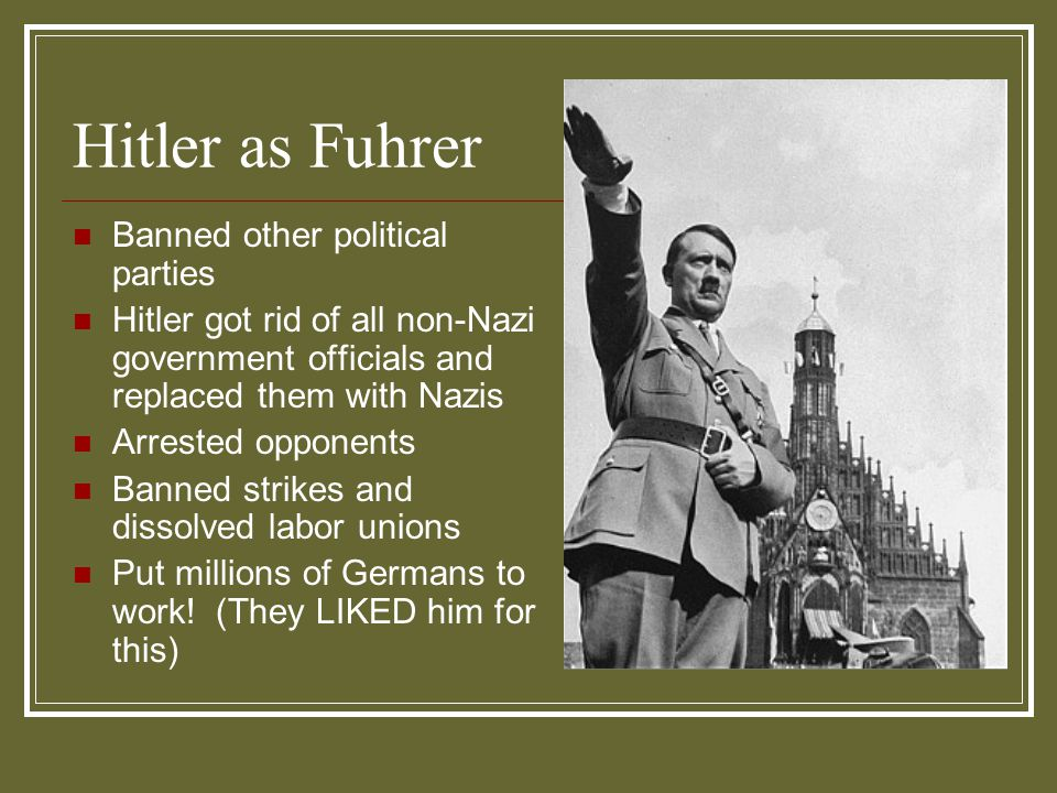 Hitler as Fuhrer Banned other political parties