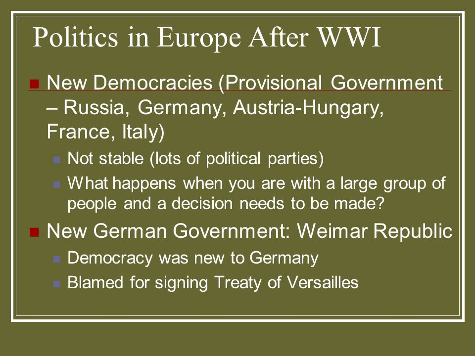 Politics in Europe After WWI