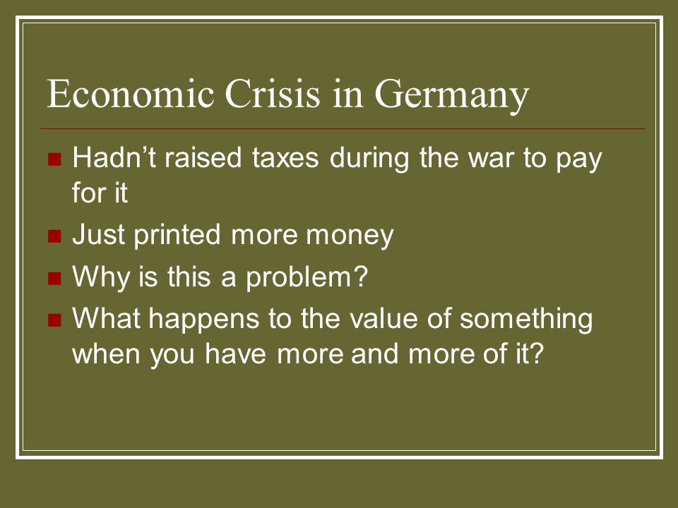 Economic Crisis in Germany