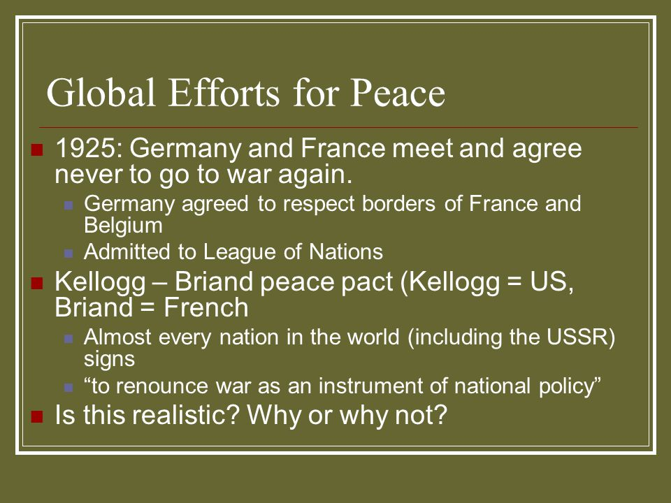 Global Efforts for Peace