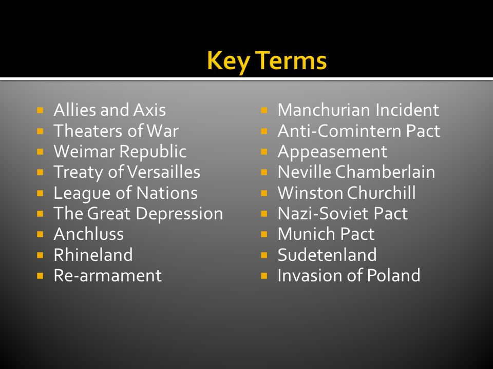 Key Terms Allies and Axis Theaters of War Weimar Republic