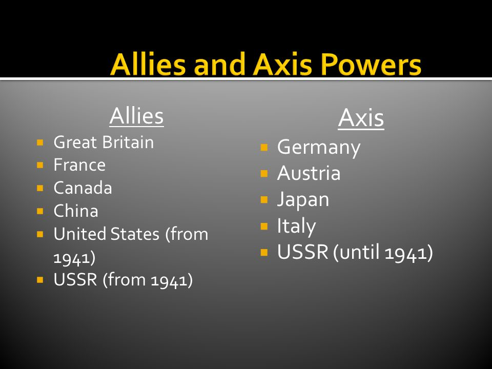 Allies and Axis Powers Axis Allies Germany Austria Japan Italy