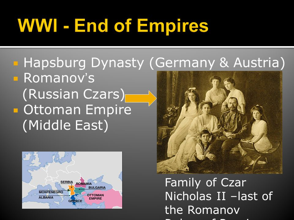 WWI - End of Empires Hapsburg Dynasty (Germany & Austria) Romanov's