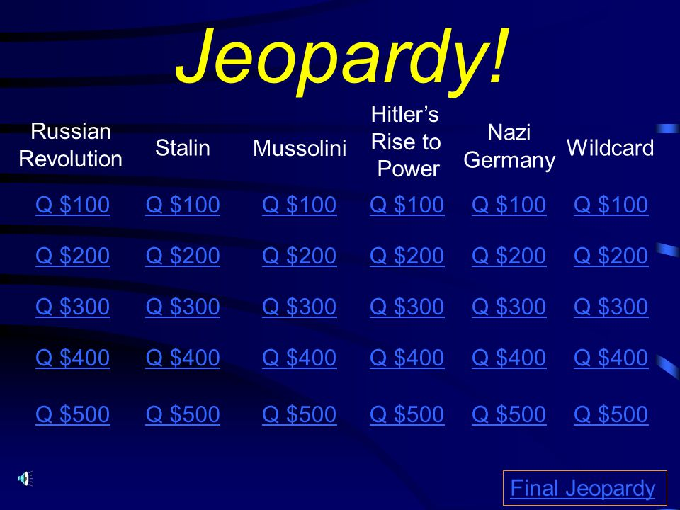Jeopardy! Hitler's Rise to Power Russian Revolution Nazi Germany