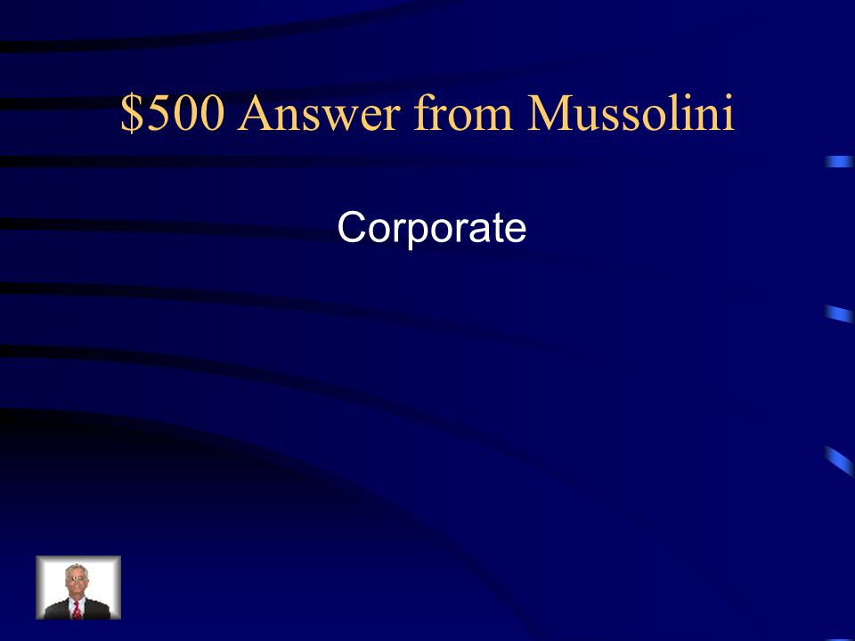 $500 Answer from Mussolini