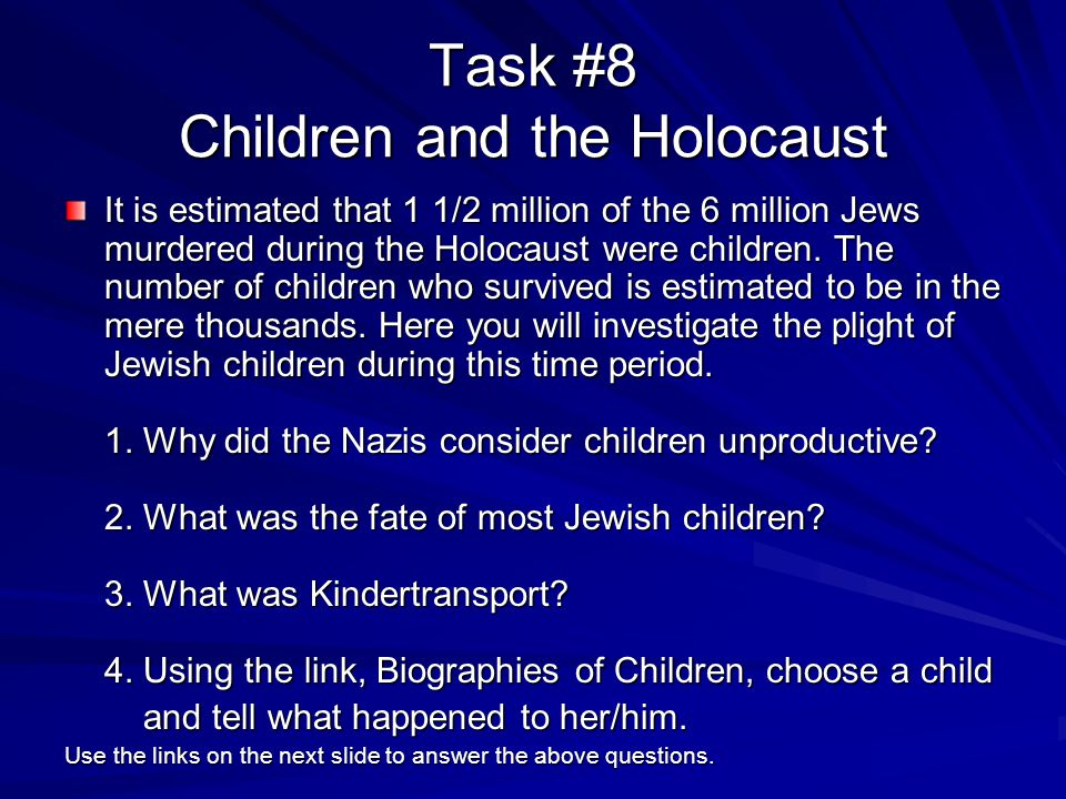 Task #8 Children and the Holocaust