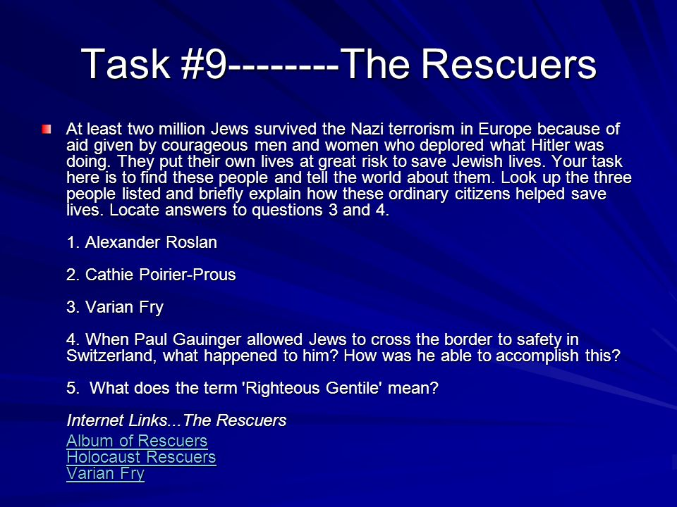 Task #9--------The Rescuers
