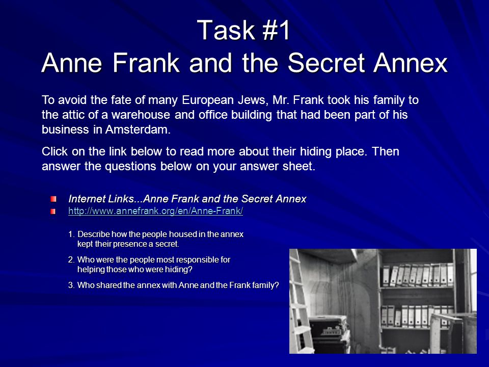 Task #1 Anne Frank and the Secret Annex