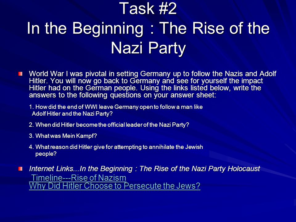 Task #2 In the Beginning : The Rise of the Nazi Party
