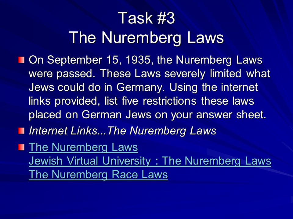 Task #3 The Nuremberg Laws