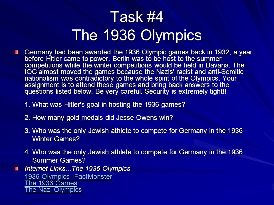 Task #4 The 1936 Olympics