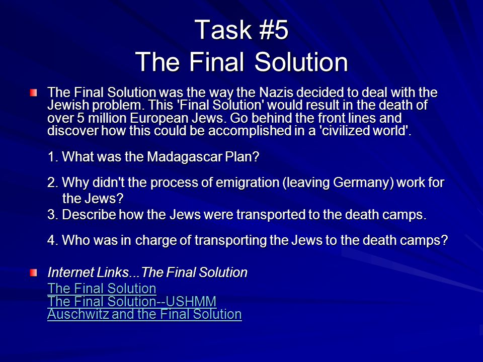 Task #5 The Final Solution