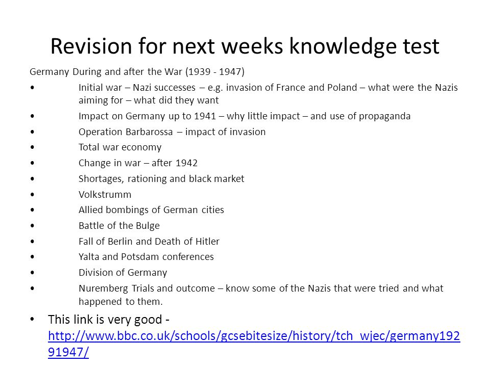 Revision for next weeks knowledge test