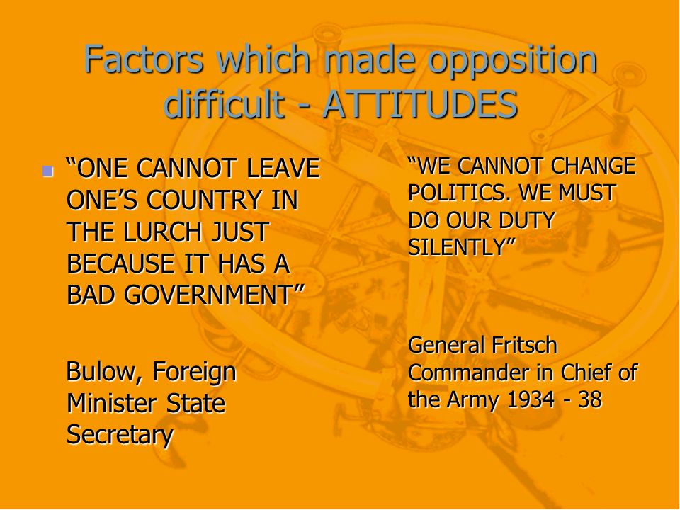 Factors which made opposition difficult - ATTITUDES