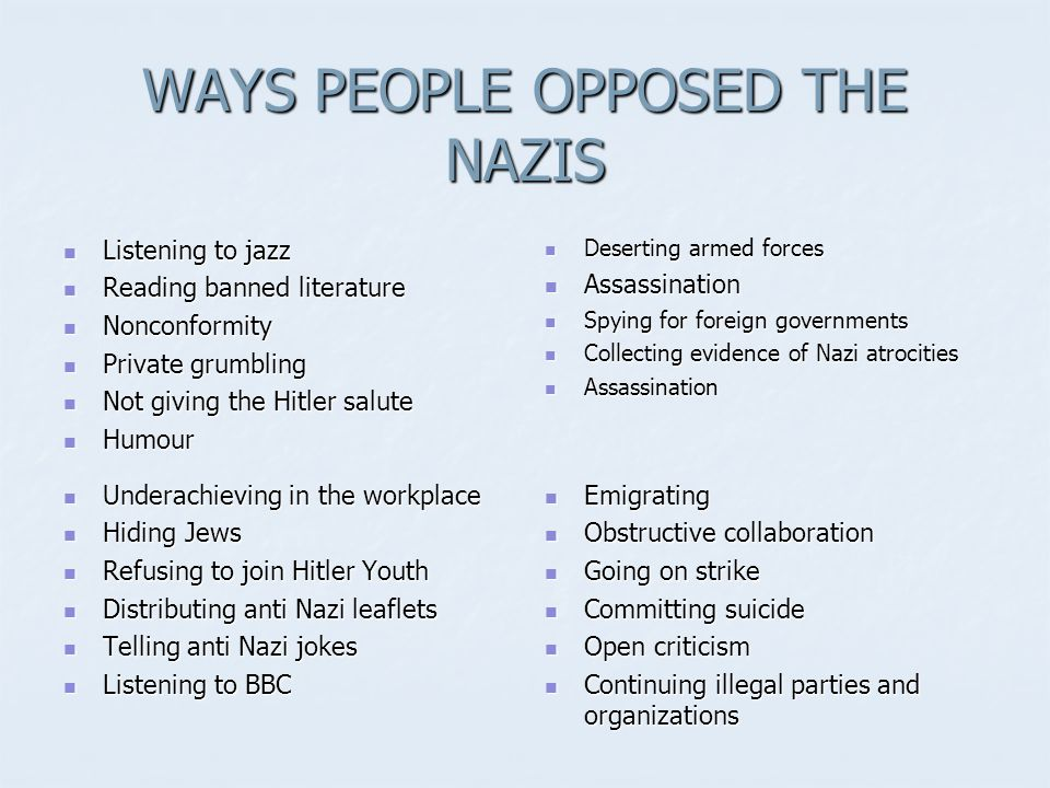 WAYS PEOPLE OPPOSED THE NAZIS
