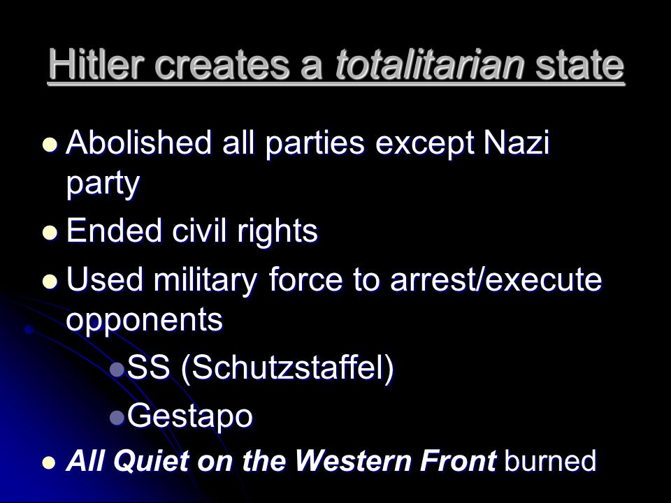 Hitler creates a totalitarian state