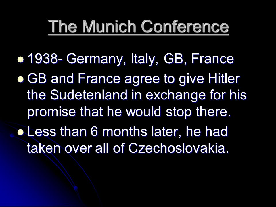 The Munich Conference 1938- Germany, Italy, GB, France