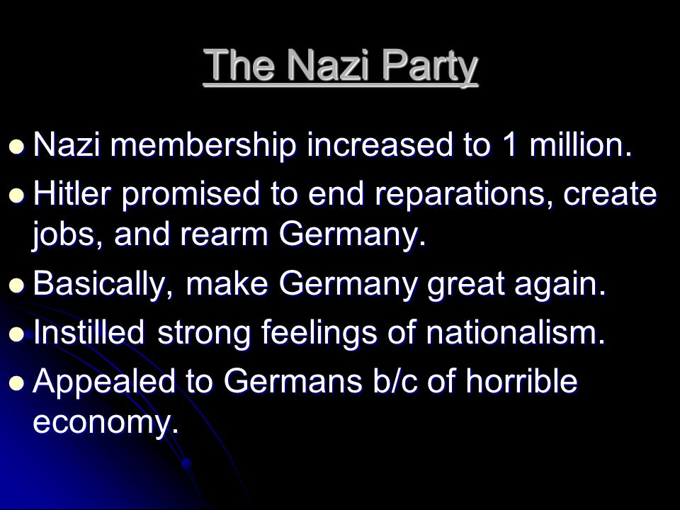The Nazi Party Nazi membership increased to 1 million.