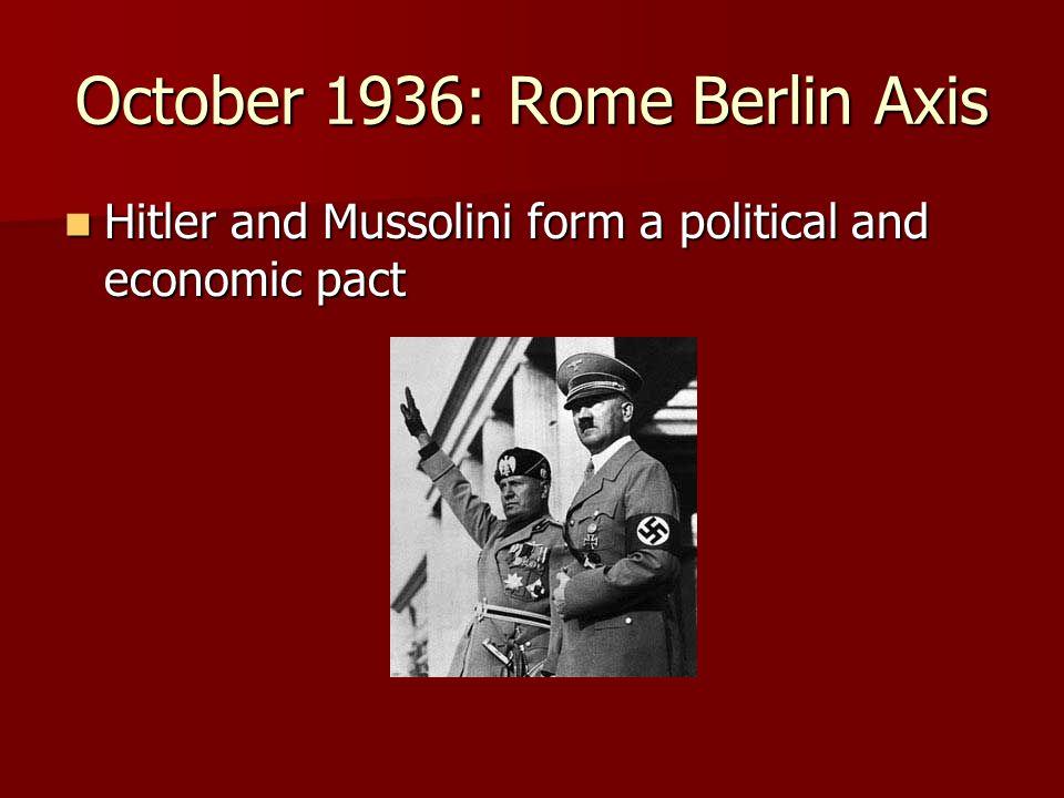 October 1936: Rome Berlin Axis