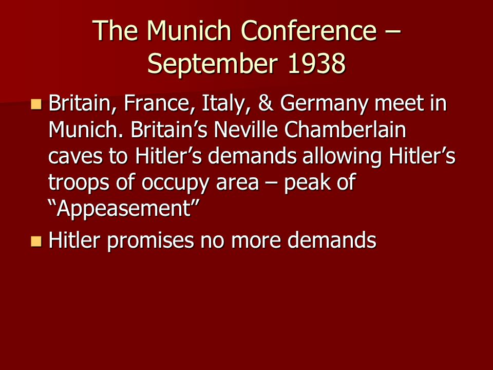 The Munich Conference – September 1938
