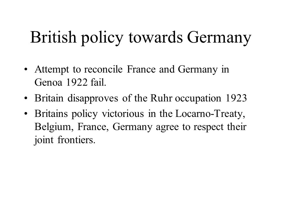 British policy towards Germany