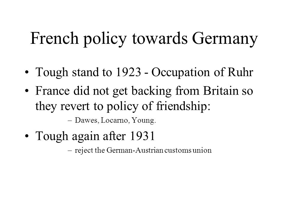 French policy towards Germany