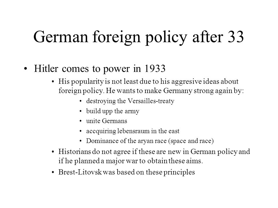 German foreign policy after 33